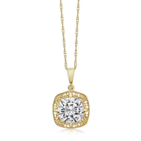 Women's Cushion White Created Moissanite and Diamond 10K Yellow Gold Necklace