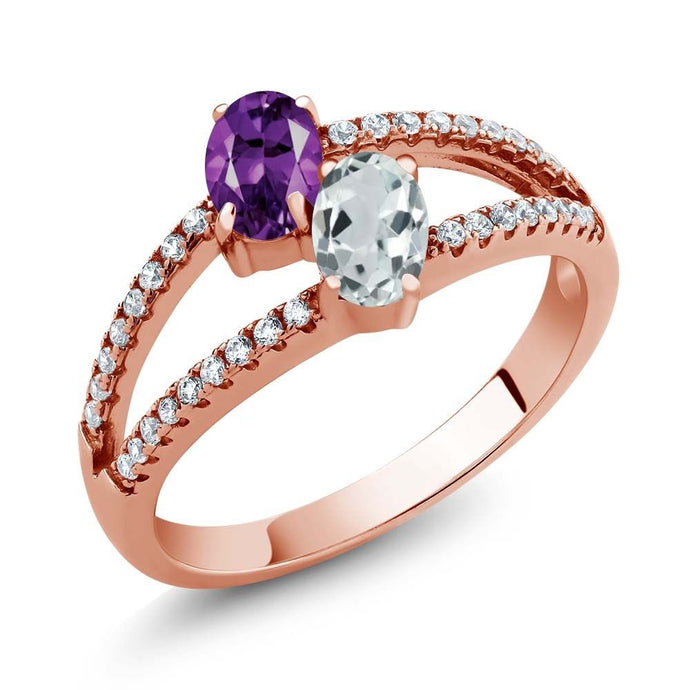 1.19 Ct Amethyst Sky Blue Aquamarine Two Stone 18K Rose Gold Plated Silver Ring