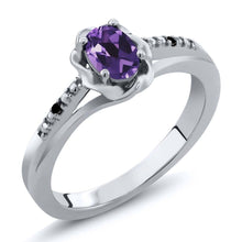 Oval Purple Amethyst Black Diamond 925 Sterling Silver Ring