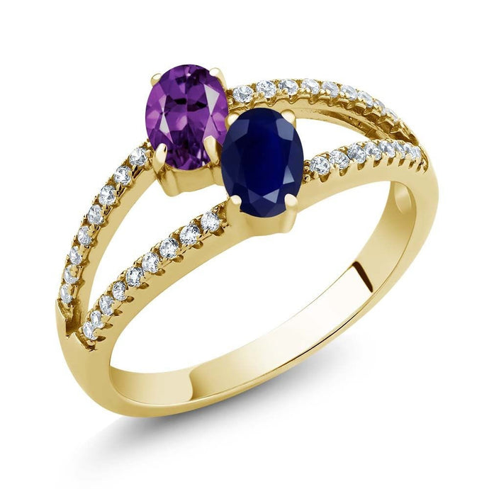 1.31 Ct Purple Amethyst Sapphire Two Stone 18K Yellow Gold Plated Silver Ring