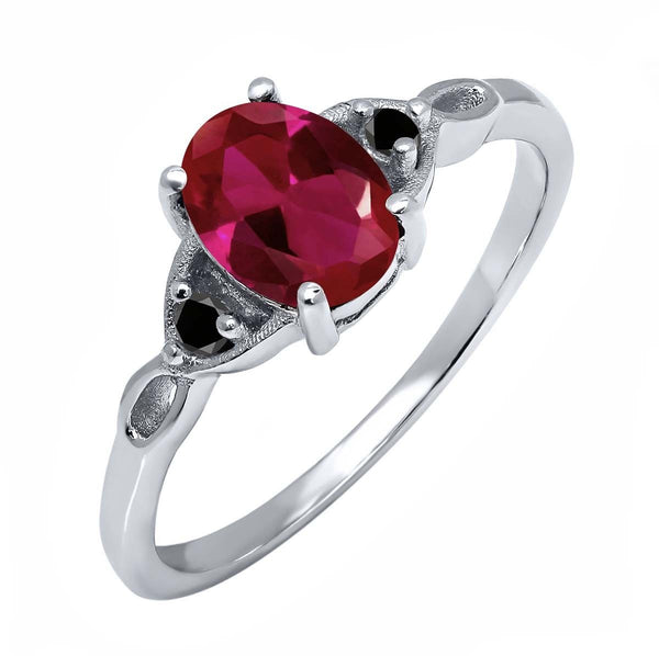 1.22 Ct Oval Red Created Ruby Black Diamond 925 Sterling Silver Ring