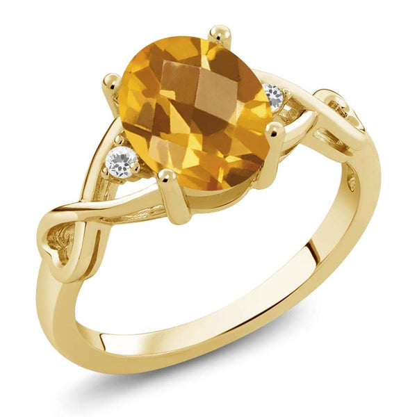 1.34 Ct Checkerboard Citrine White Sapphire 18K Yellow Gold Plated Silver Ring