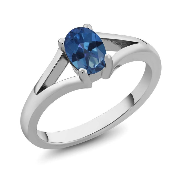 0.80 Ct Oval Royal Blue Mystic Topaz 925 Sterling Silver Ring