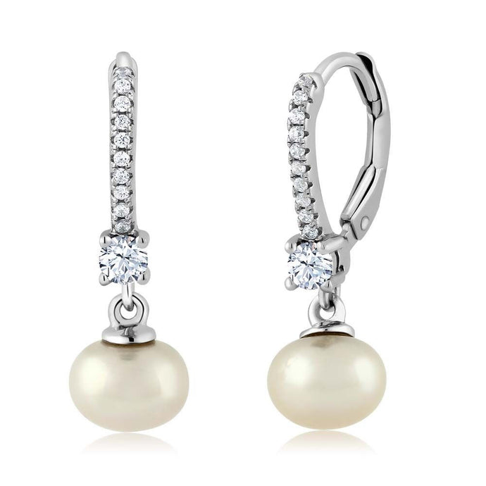 White Zirconia Cultured Freshwater Pearl 925 Silver Earrings
