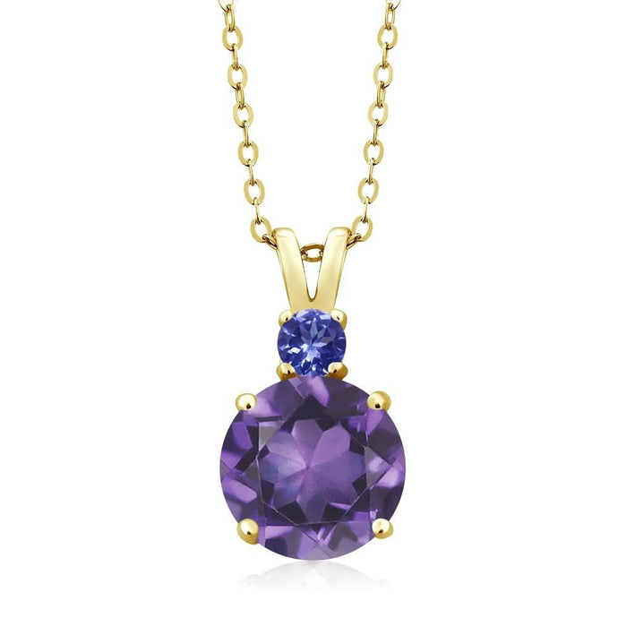 3.12 Ct Round Amethyst Tanzanite 14K Yellow Gold Women's Pendant + 18