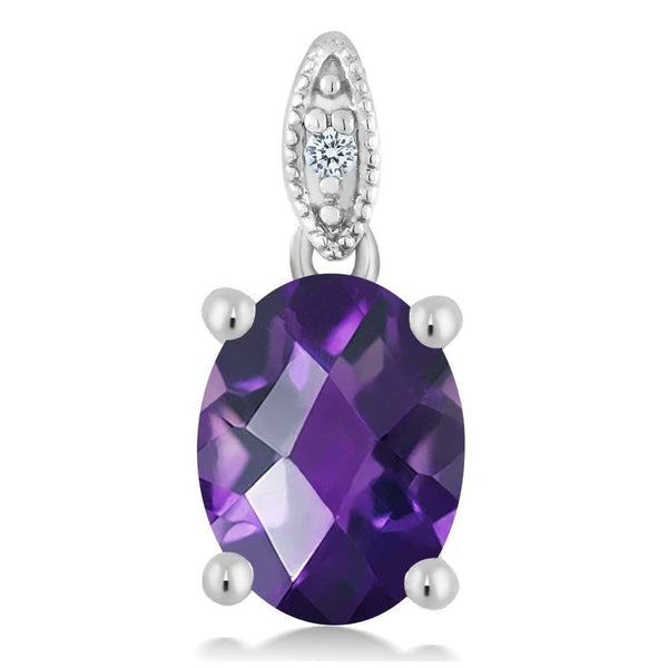 Women's Checkerboard Amethyst 10K White Gold Diamond Pendant