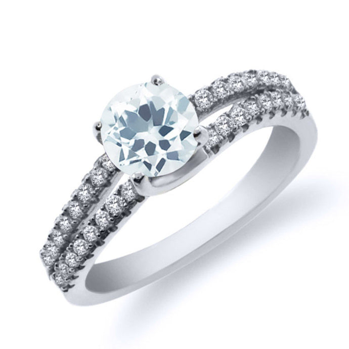 0.83 Ct Round Sky Blue Aquamarine 925 Sterling Silver Ring