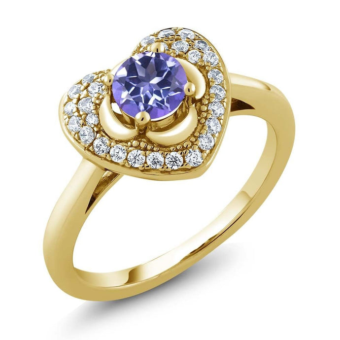 0.92 Ct Round Blue Mystic Topaz 18K Yellow Gold Plated Silver Heart Ring