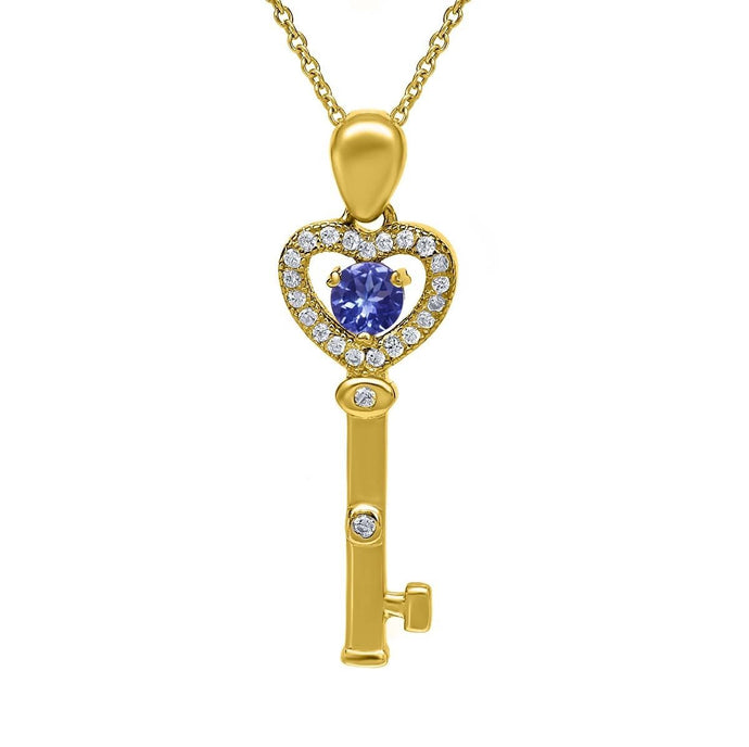 Round Blue Tanzanite 18K Yellow Gold Plated Silver Pendant