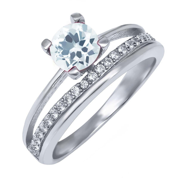 1.00 Ct Round Sky Blue Aquamarine 925 Sterling Silver Women's Ring Sizes 5 to 9