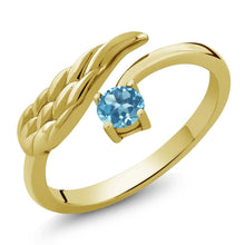 0.33 Ct Round Swiss Blue Topaz 18K Yellow Gold Plated Silver Wing Ring