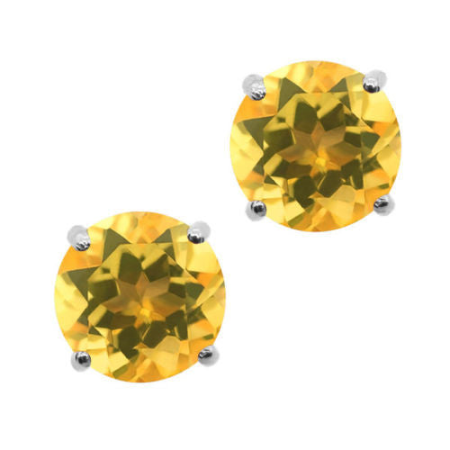 Yellow Citrine 925 Sterling Silver Stud Earrings