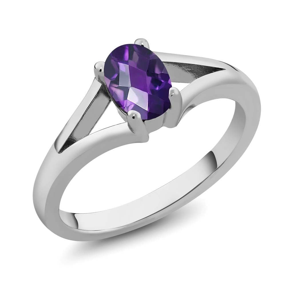 0.75 Ct Oval Checkerboard Purple Amethyst 925 Sterling Silver Ring