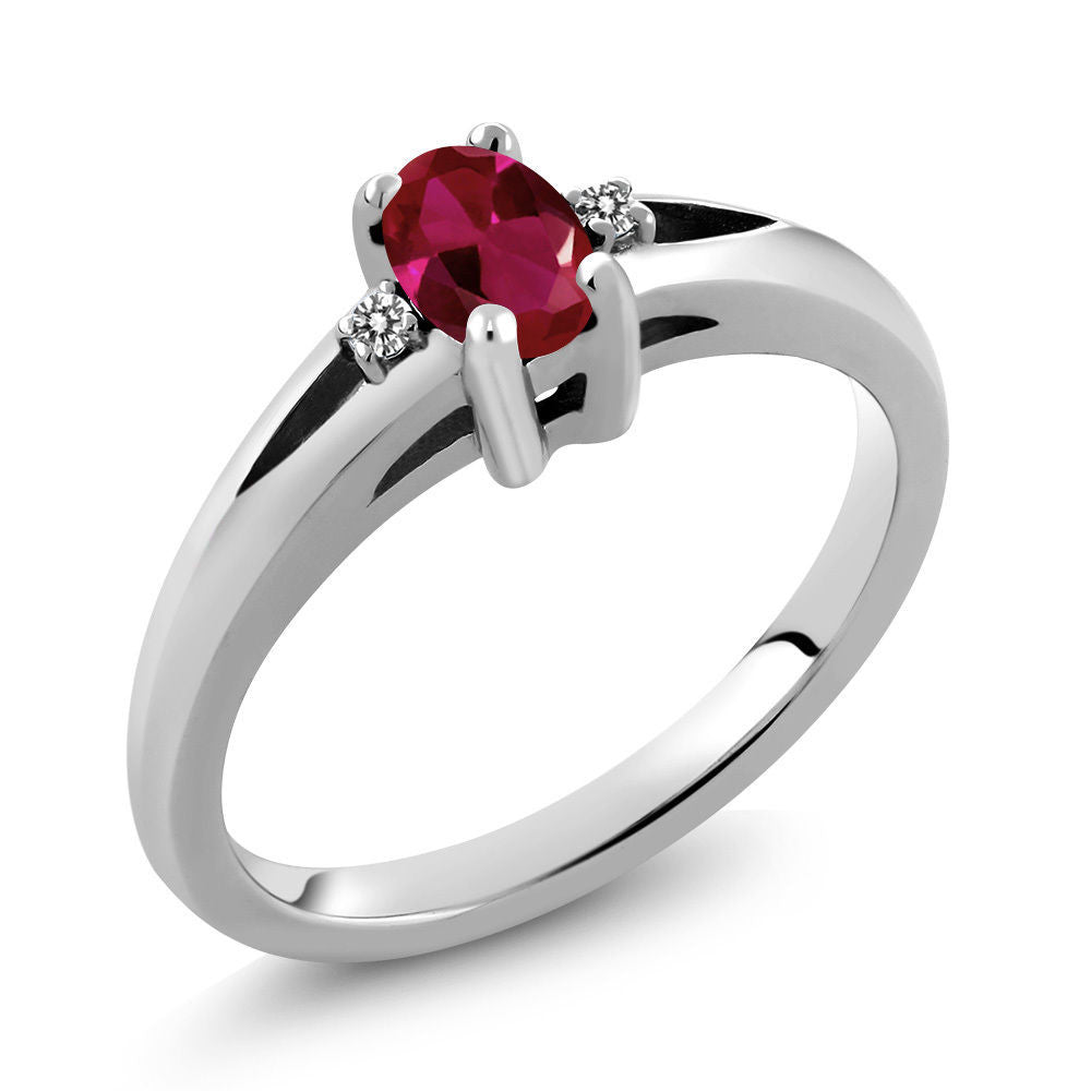 Red Created Ruby White Diamond 925 Sterling Silver Ring