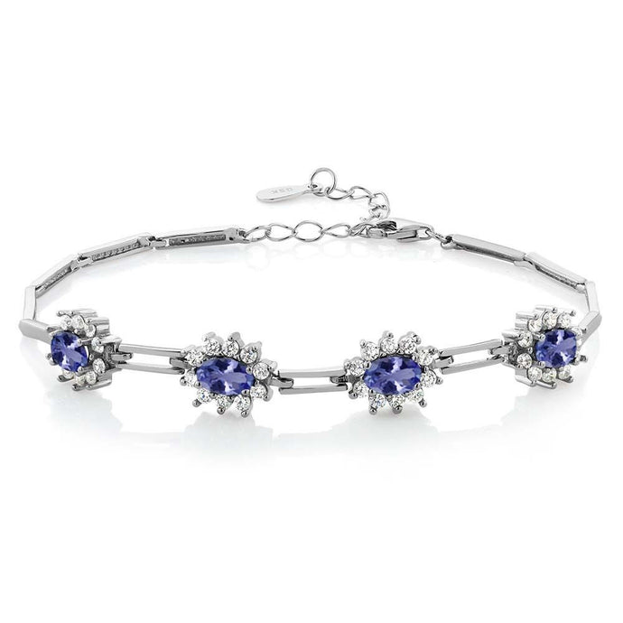 3.80 Ct Oval Blue Tanzanite 925 Sterling Silver Bracelet 7