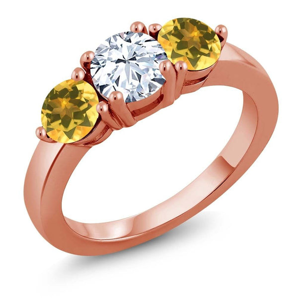 2.10 Ct White Created Sapphire Yellow Citrine 18K Rose Gold Plated Silver Ring