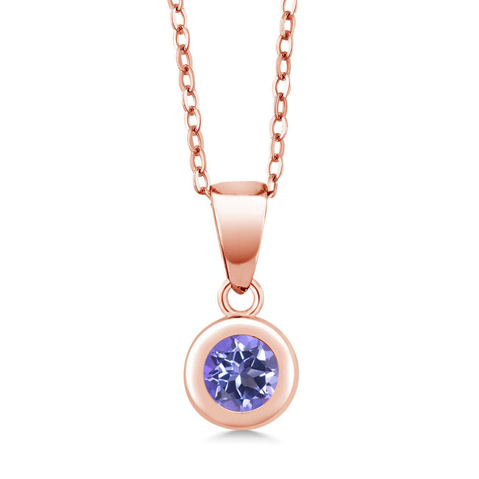 0.65 Ct Round Blue Mystic Topaz 18K Rose Gold Plated Silver Pendant With Chain