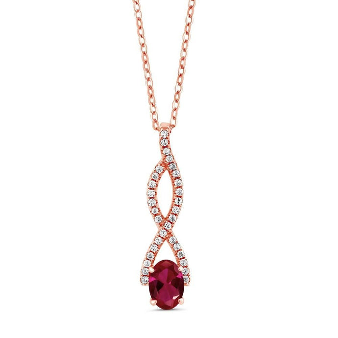 1.28 Ct Oval Red Created Ruby 18K Rose Gold Plated Silver Infinity Pendant