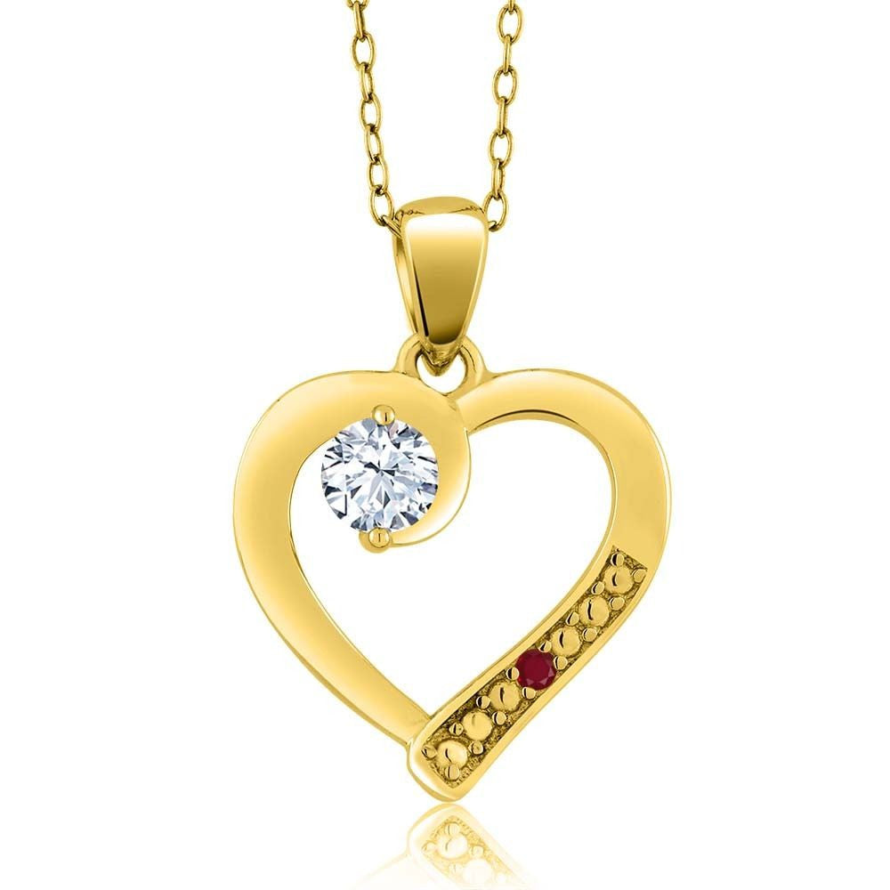 White Topaz Red Ruby 18K Yellow Gold Plated Silver Pendant