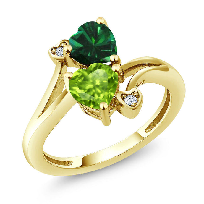 1.54 Ct Green Peridot Green Simulated Emerald 18K Yellow Gold Plated Silver Ring