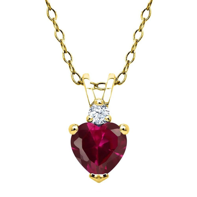 0.64ct Created Ruby White Created Sapphire 18K Yellow Gold Plated Silver Pendant