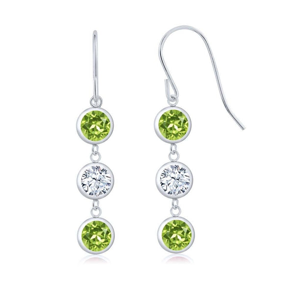 Green Peridot 925 Sterling Silver Earrings