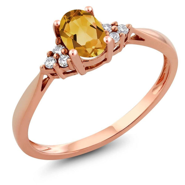 Women's 14K Rose Gold Yellow Citrine and Diamond Ring