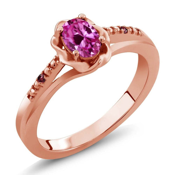0.52 Ct Pink Created Sapphire Rhodolite Garnet 18K Rose Gold Plated Silver Ring