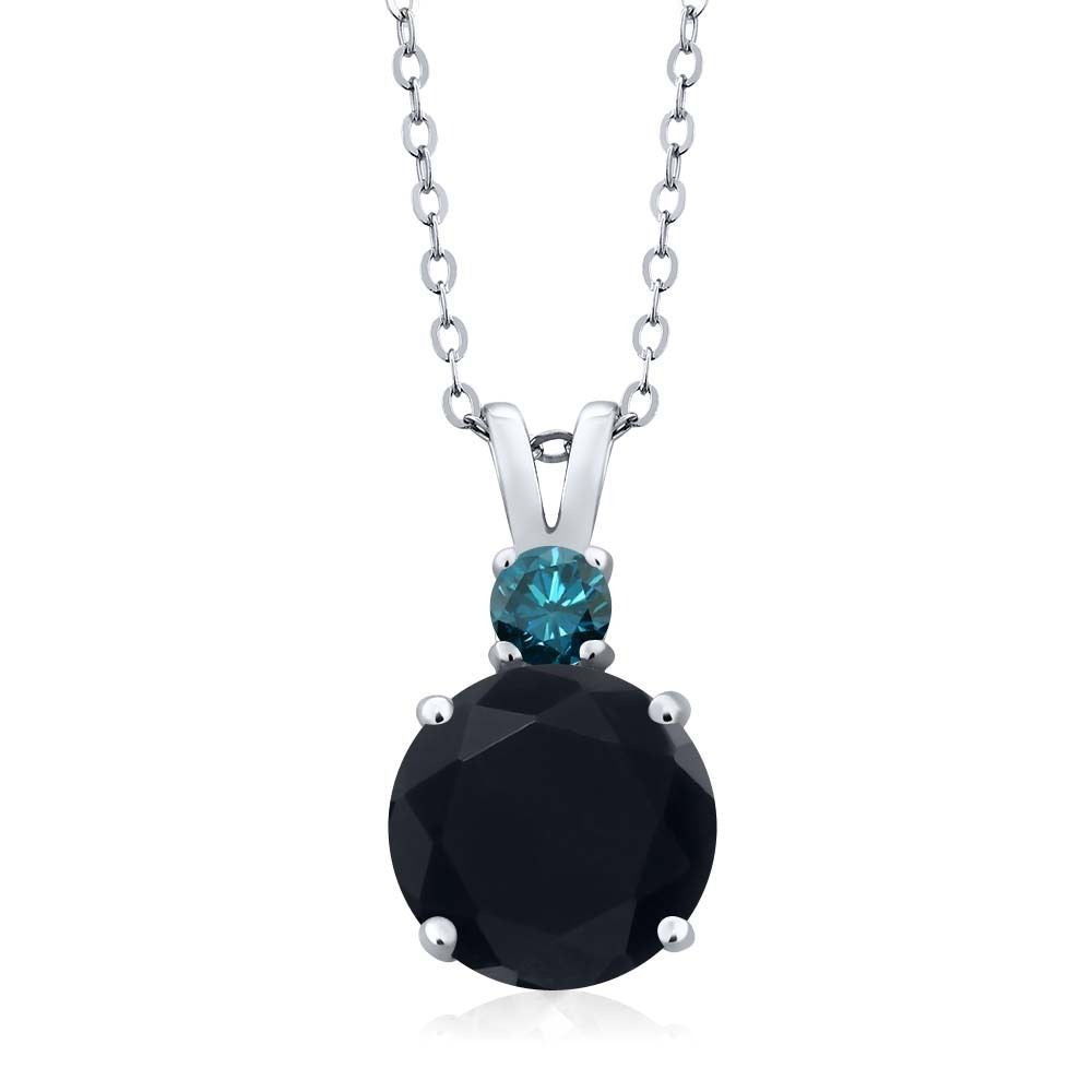 3.10 Ct Round Black Onyx Blue Diamond 14K White Gold Women's Pendant + 18