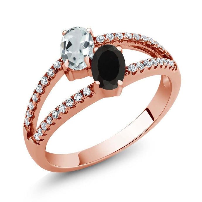 1.23 Ct Aquamarine Black Onyx Two Stone 18K Rose Gold Plated Silver Ring