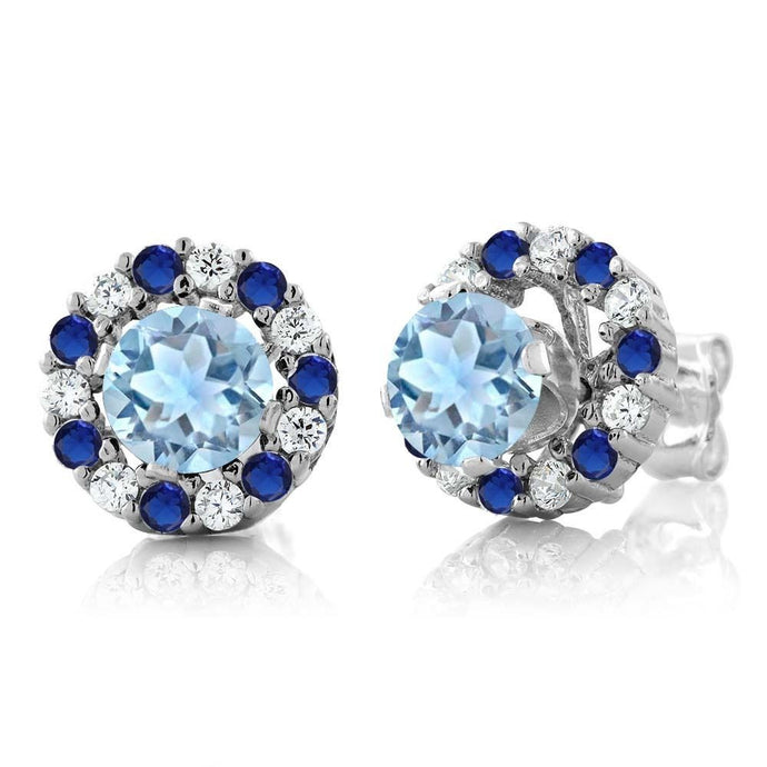 1.16 Ct Round Sky Blue Aquamarine 925 Sterling Silver Earrings