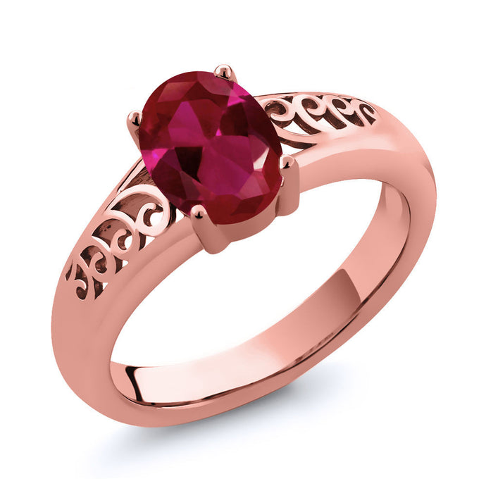 0.94 Ct Oval Created Ruby Rose Gold Plated 925 Silver Ring
