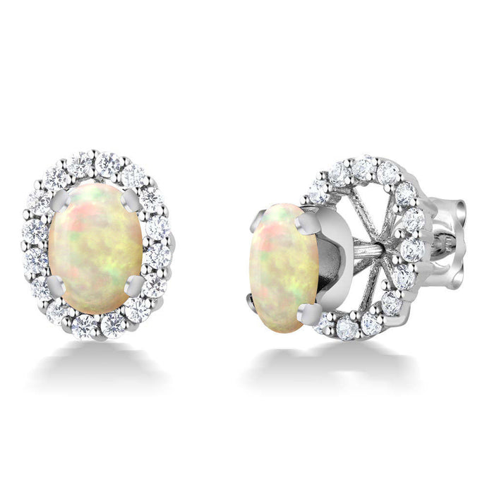 1.02 Ct Oval Cabochon 7x5mm White Ethiopian Opal 925 Silver Stud Earrings
