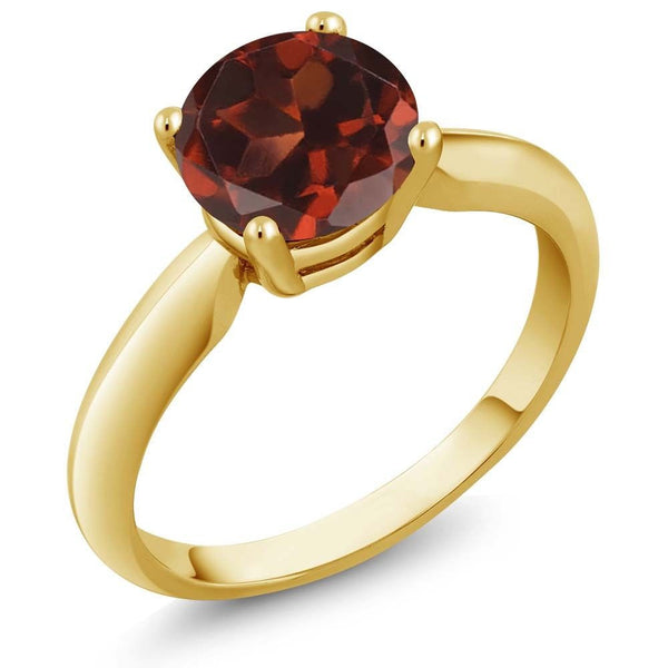 1.30 Ct Round Red Garnet 18K Yellow Gold Plated Silver Ring
