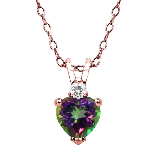 Green Mystic Topaz White Sapphire 18K Rose Gold Plated Silver Pendant