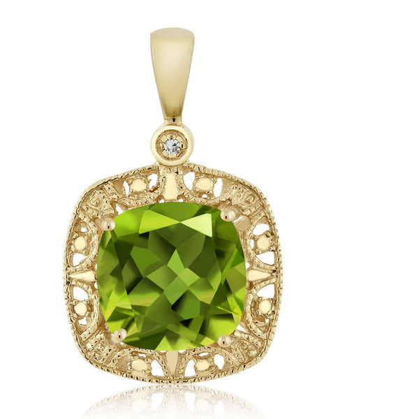 Women's Cushion Green Peridot and Diamond 10K Yellow Gold Necklace