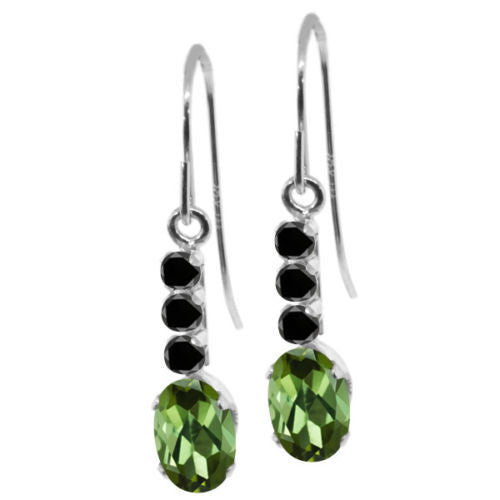 1.00 Ct Oval Green Tourmaline Black Diamond 10K White Gold Earrings