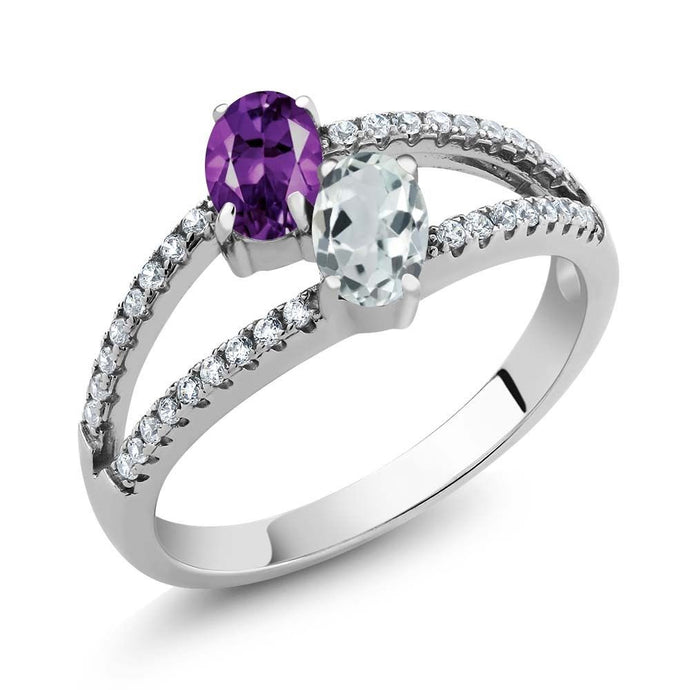 1.19 Ct Purple Amethyst Sky Blue Aquamarine Two Stone 925 Sterling Silver Ring
