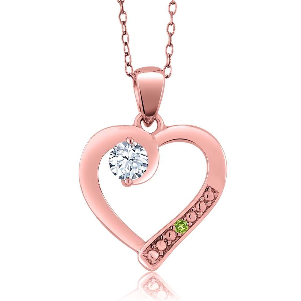White Topaz Simulated Peridot 18K Rose Gold Plated Silver Pendant