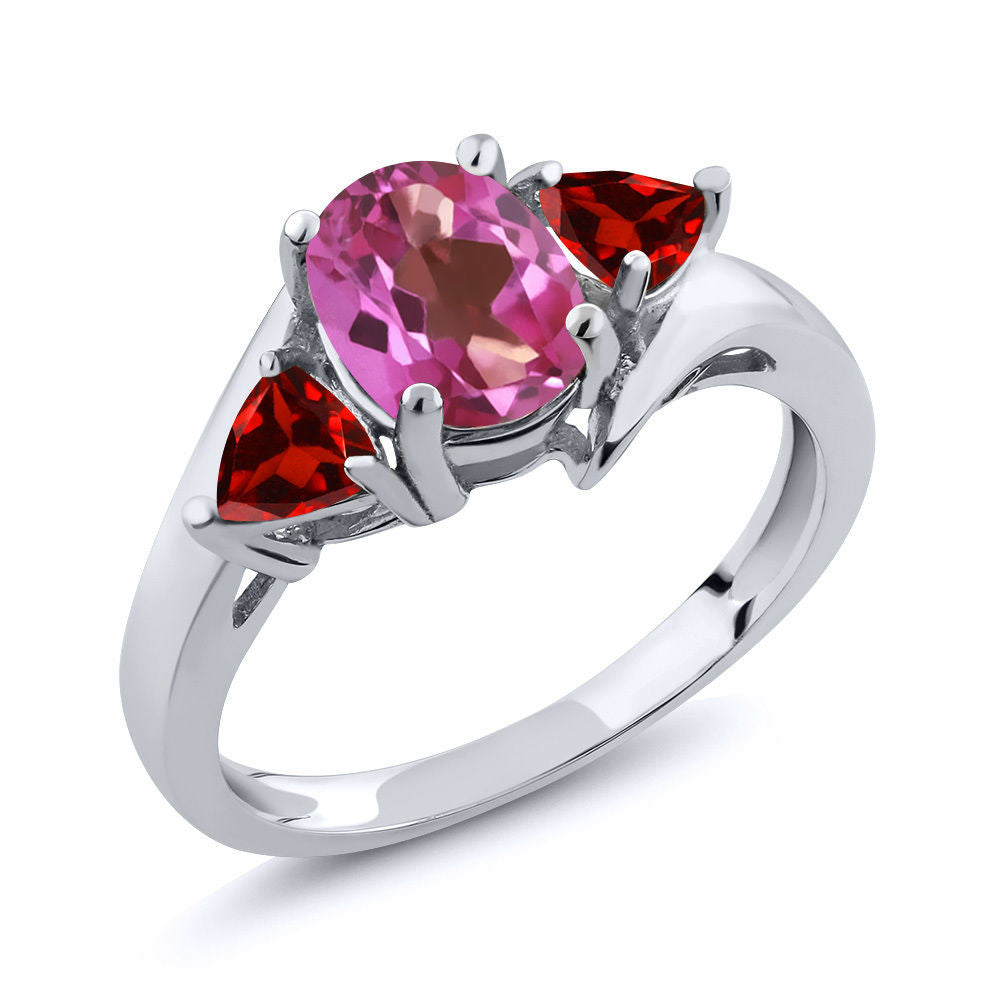 1.98 Ct Oval Pink Mystic Topaz Red Garnet 925 Sterling Silver Ring