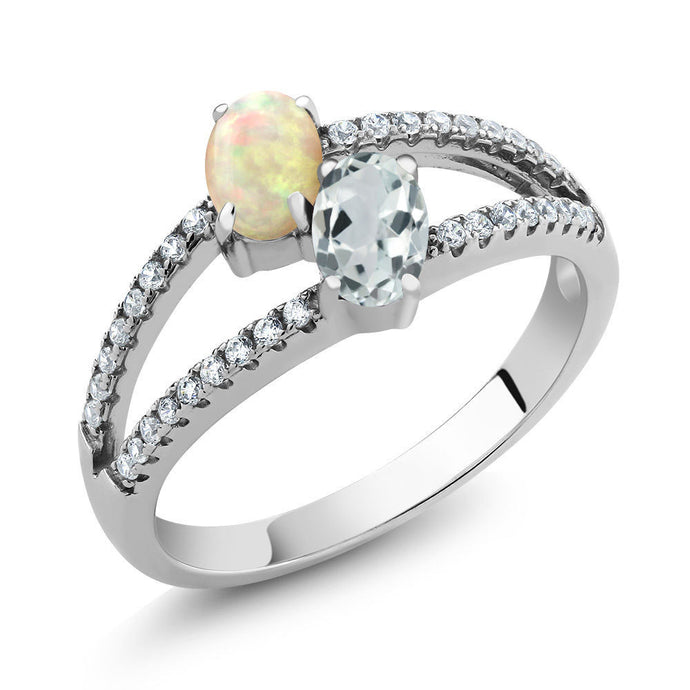 1.16 Ct Oval Cabochon White Ethiopian Opal Sky Blue Aquamarine 925 Silver Ring