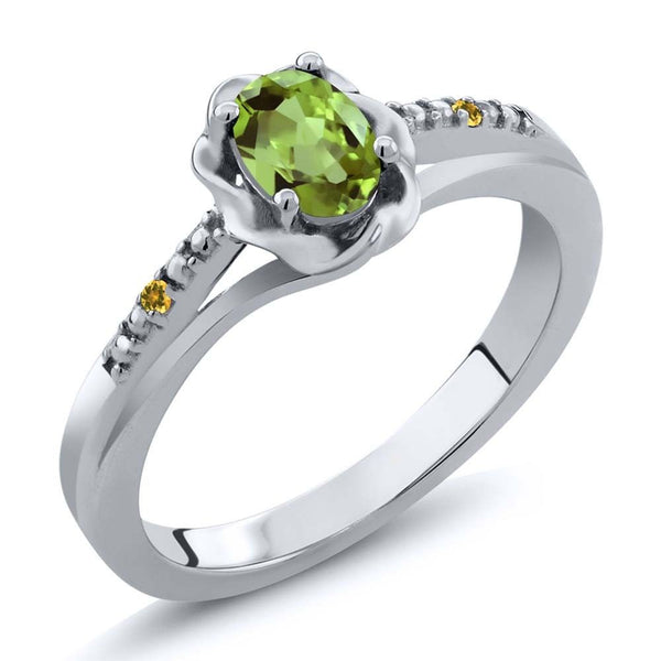 Green Peridot and Yellow Simulated Citrine 925 Sterling Silver Ring