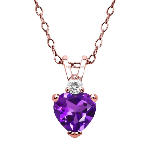 Purple Amethyst White Sapphire 18K Rose Gold Plated Silver Pendant