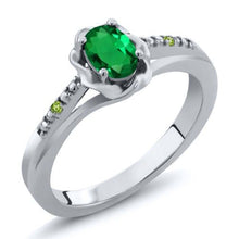 Simulated Emerald and Simulated Peridot 925 Sterling Silver Ring