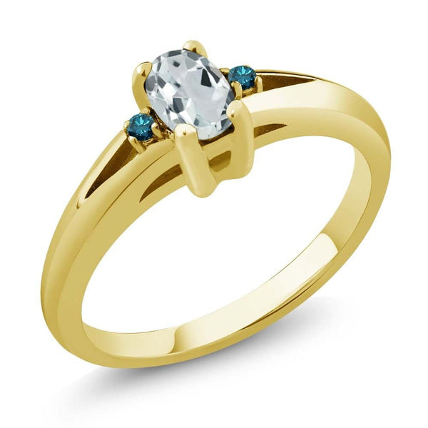 Sky Blue Oval Aquamarine and Blue Diamond Yellow Gold Plated Silver Ring