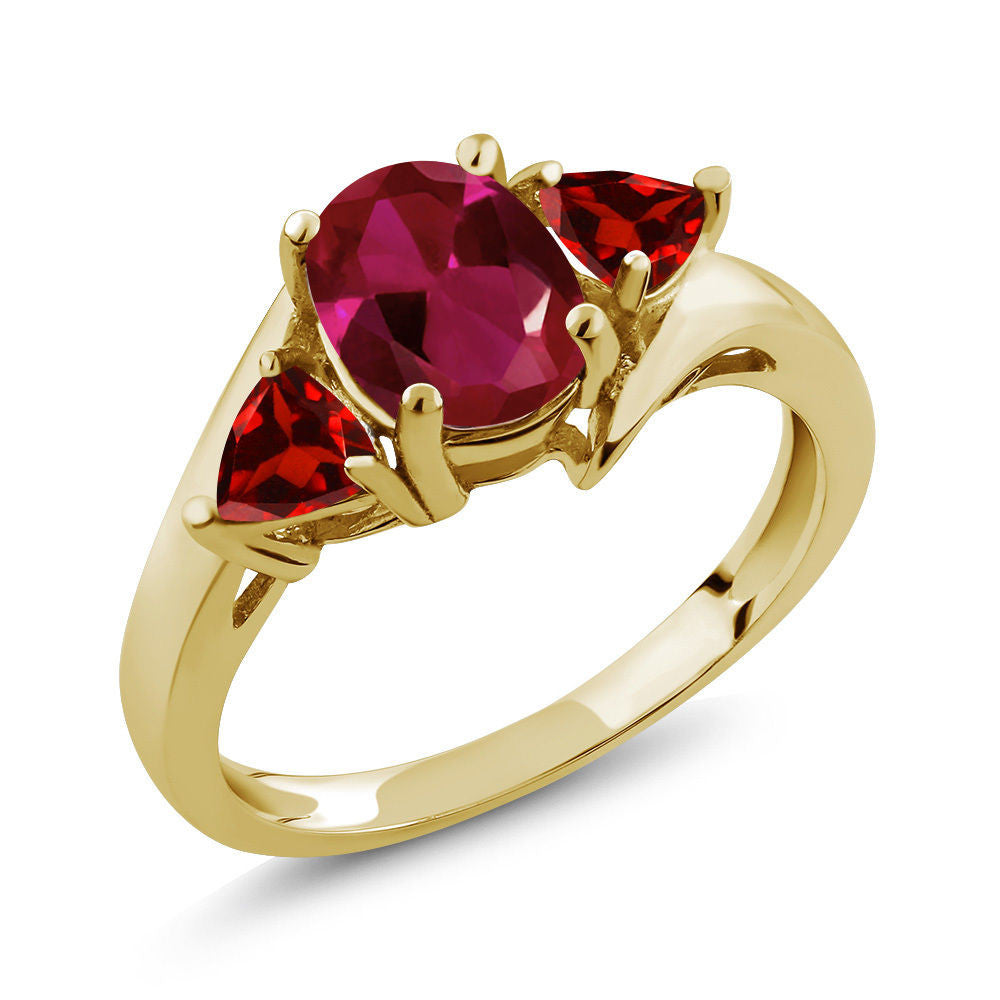1.83 Ct Oval Red Created Ruby Red Garnet 18K Yellow Gold Plated Silver Ring