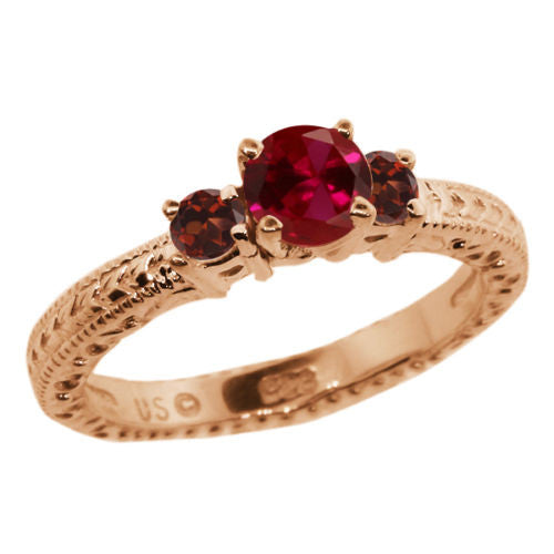 0.84 Ct Round Red Created Ruby Garnet 18K Rose Gold Plated Silver 3-Stone Ring