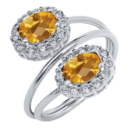 2.18 Ct Oval Checkerboard Yellow Citrine 925 Sterling Silver Ring