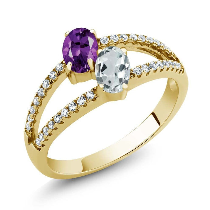 1.19 Ct Amethyst Aquamarine Two Stone 18K Yellow Gold Plated Silver Ring