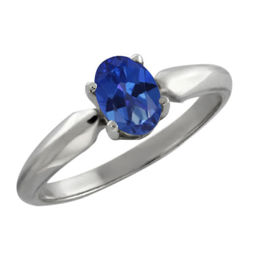 0.95 Ct Oval Royal Blue Mystic Topaz 925 Silver Ring